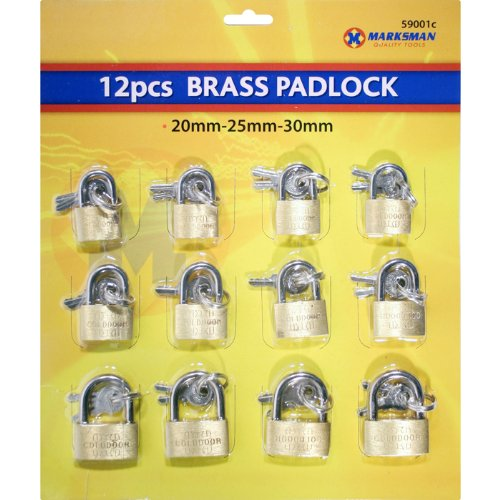 12Pcs - 25mm/30mm/35mm Brass Padlocks per pack