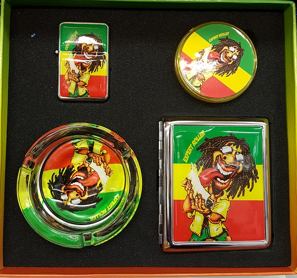 4 pcs rasta grinder,lighter,cigarette case & ash tray smoker set