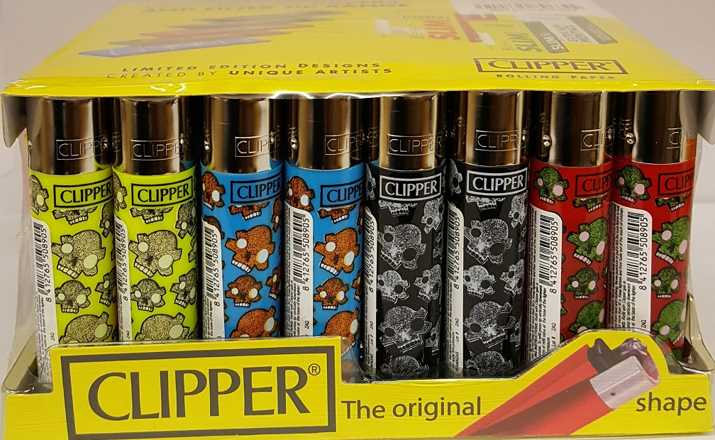 Clipper Assorted SKULLS ISLAND Print Flint Lighter 40