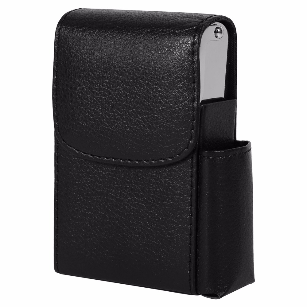 Cigarette Case PU Leather Tobacco Pouch Lighter Holder (8)
