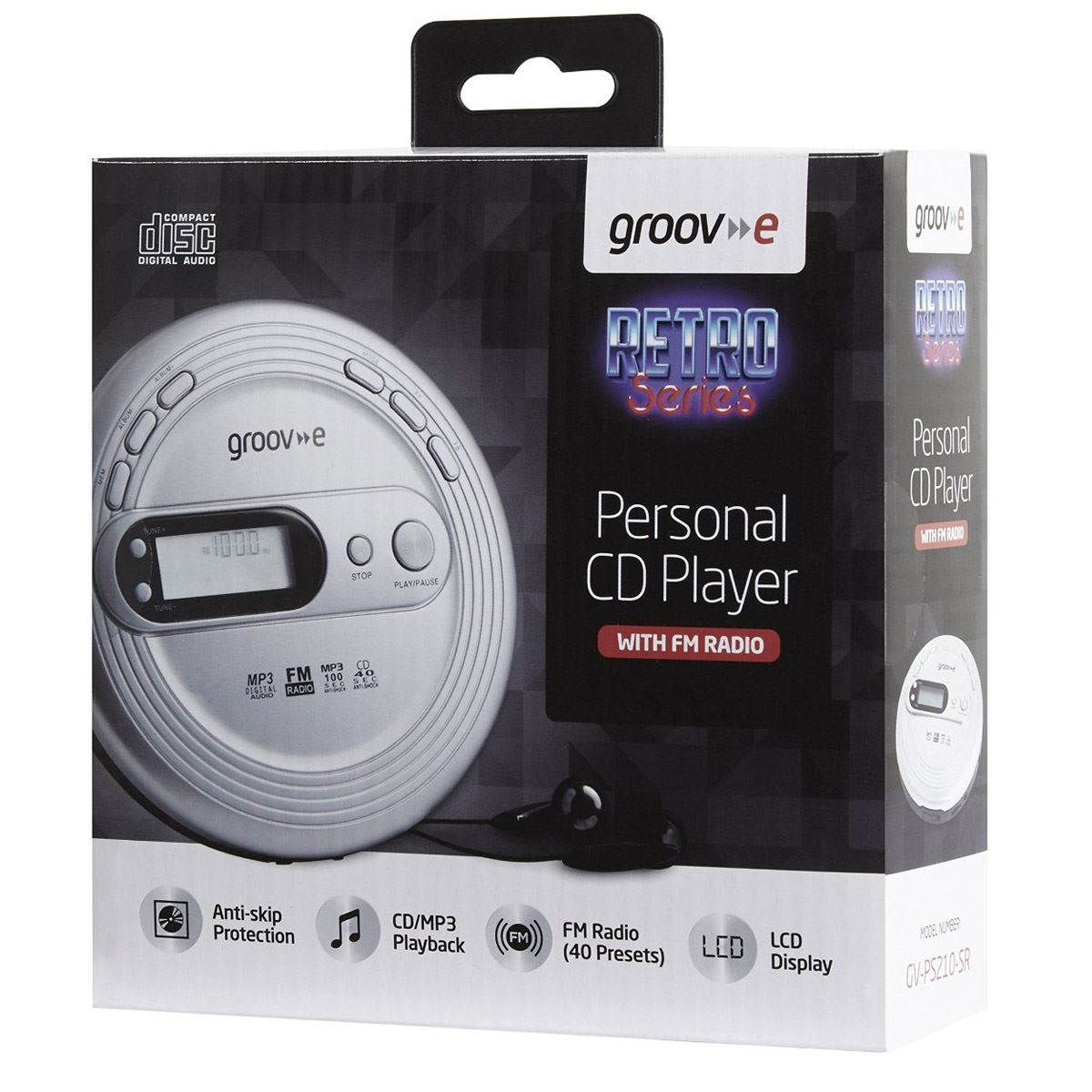 Groov-e GVPS210 Retro Series Personal CD MP3 Player Walkman with