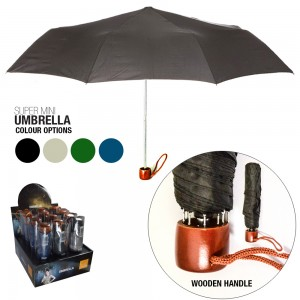 Wooden Handles Lady's Umbrella - Black (12 in a Box)