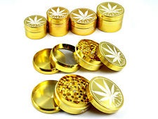 4 Part 50 MM Metal Leaf Herb Grinder GOLD