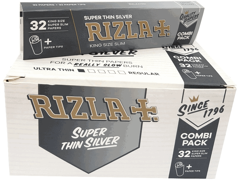 RIZLA COMBI PACK KING SIZE SILVER PAPERS &TIPS (Pack Size: 24