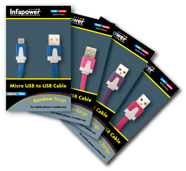 Infapower Micro USB to USB 2.0 Cable Rainbow Range (1)
