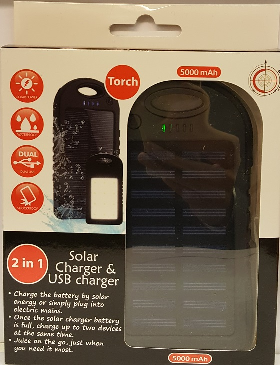 2 IN 1 SOLAR CHARGER & USB CHARGE 5000mah
