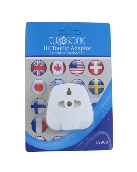 Tourist to UK Travel Adaptor without Edge Guard.