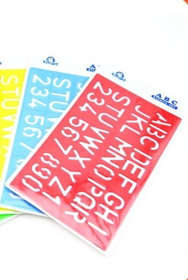 LETTERING STANCILL ASSORTED COLOURS X 12