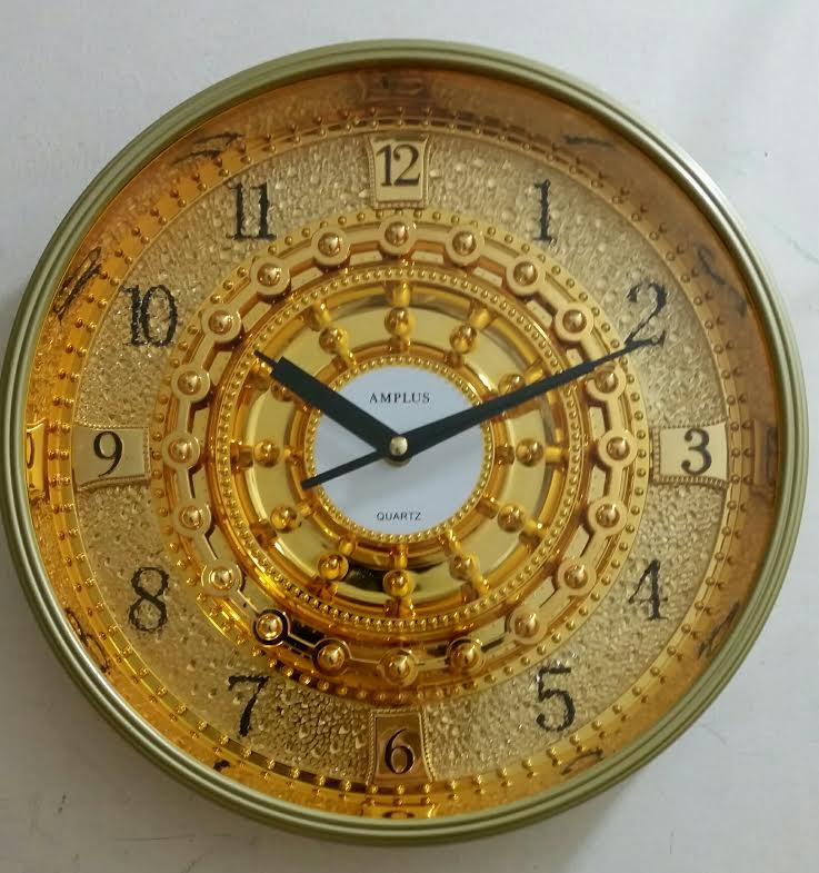Amplus Wall Clock Golden Dial Round SH002(1)