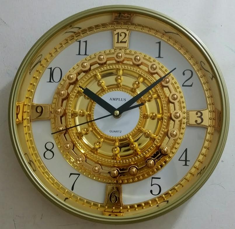 Amplus Wall Clock Gold & White Dial Round SH003(1)