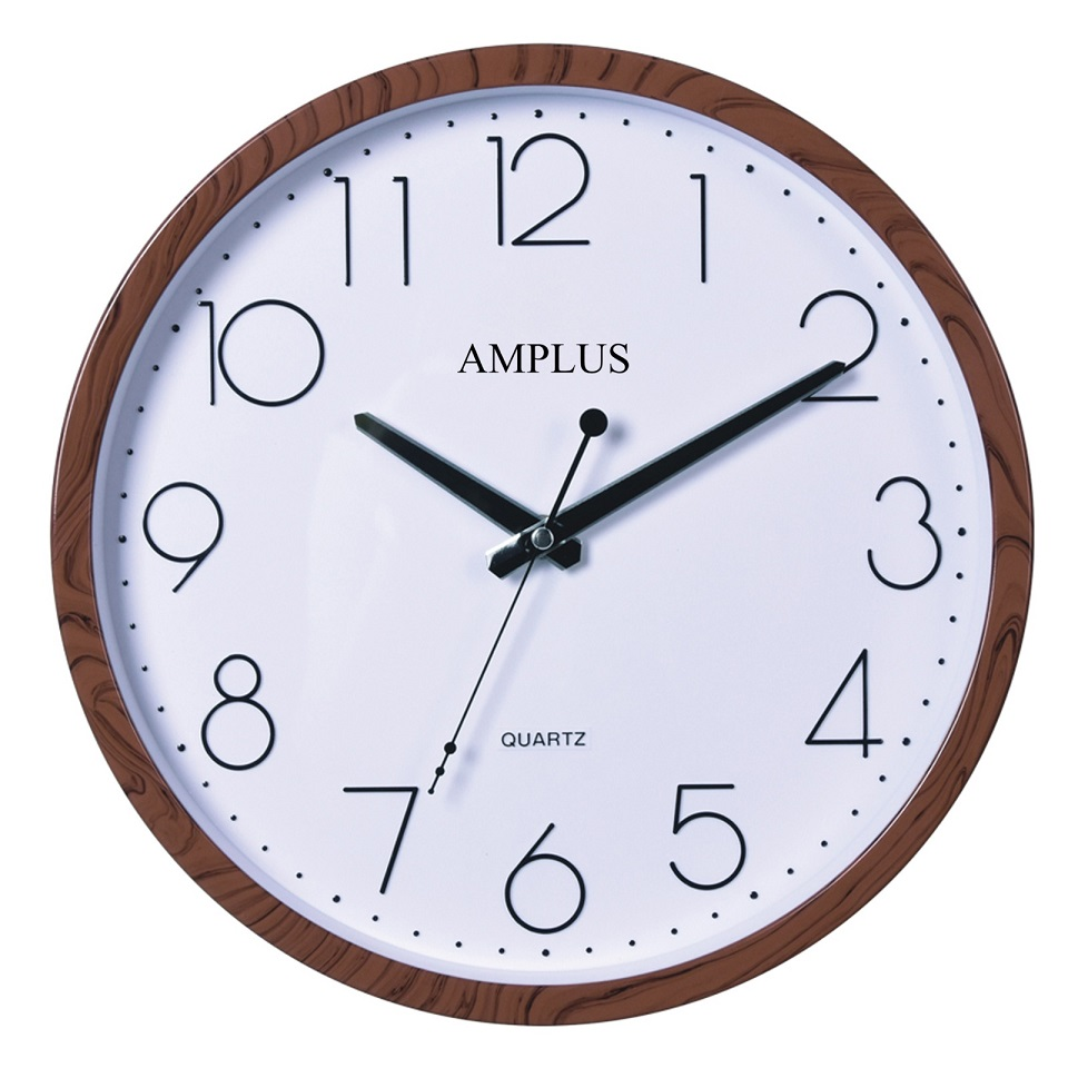 Amplus Wall Clock wooden effect frame Round pw077(1)