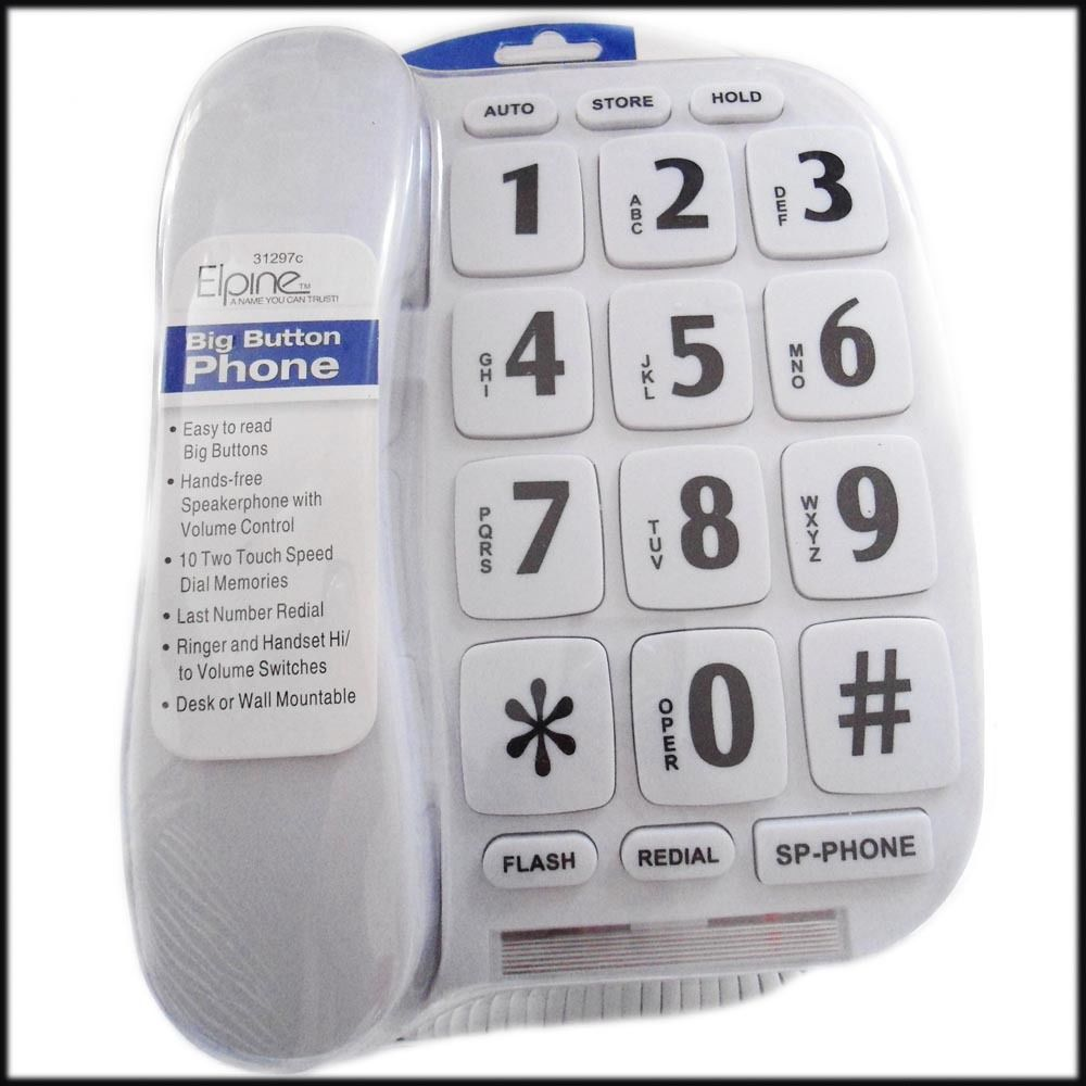 Big Button WHITE Telephone Corded Hands Free Speakerphone