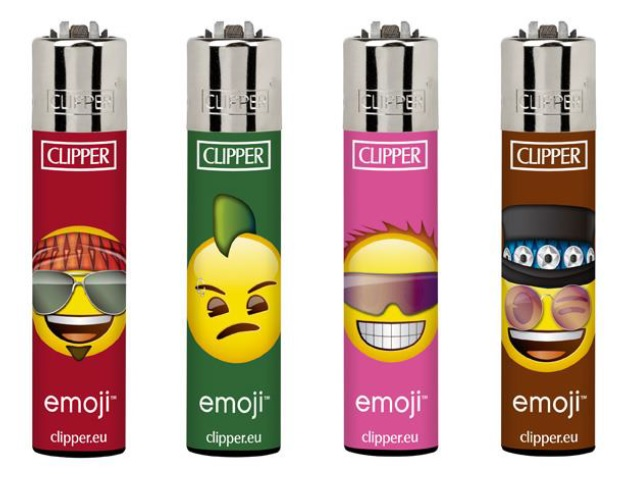 Clipper Assorted Emoji Rocks Print Flint Lighter 40