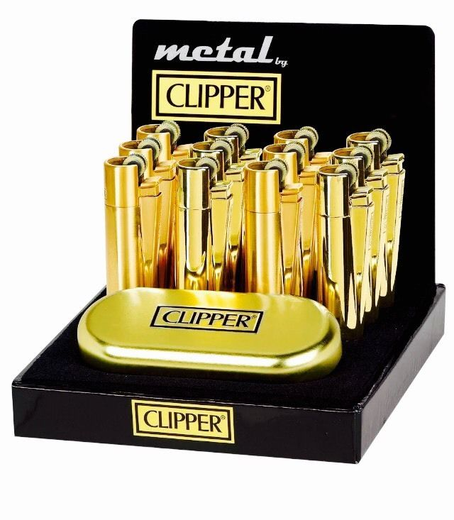 Clipper Metal Gift Gold Colours Flint Lighter (Gift Box)