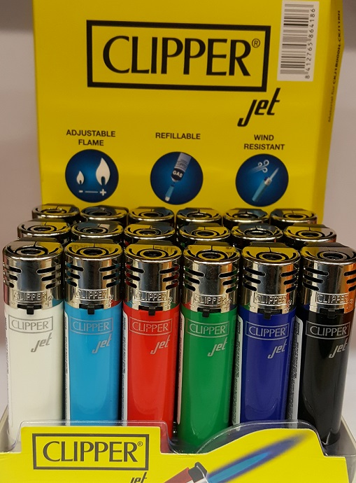 Clipper Assorted Colour Jet Flame Lighter x 24