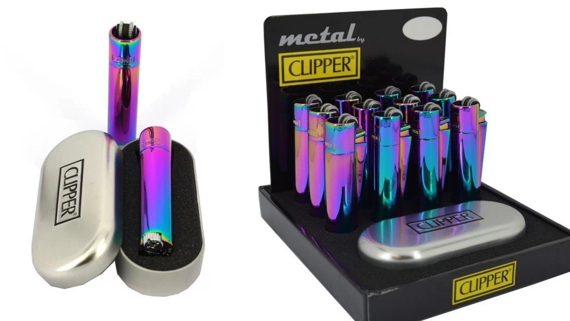 Clipper Metal Gift Mixed Icy Colours Flint Lighter (Gift Box)