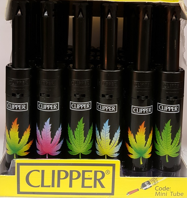 Clipper Assorted Mini Tube Leaf Print Electronics Lighter 30