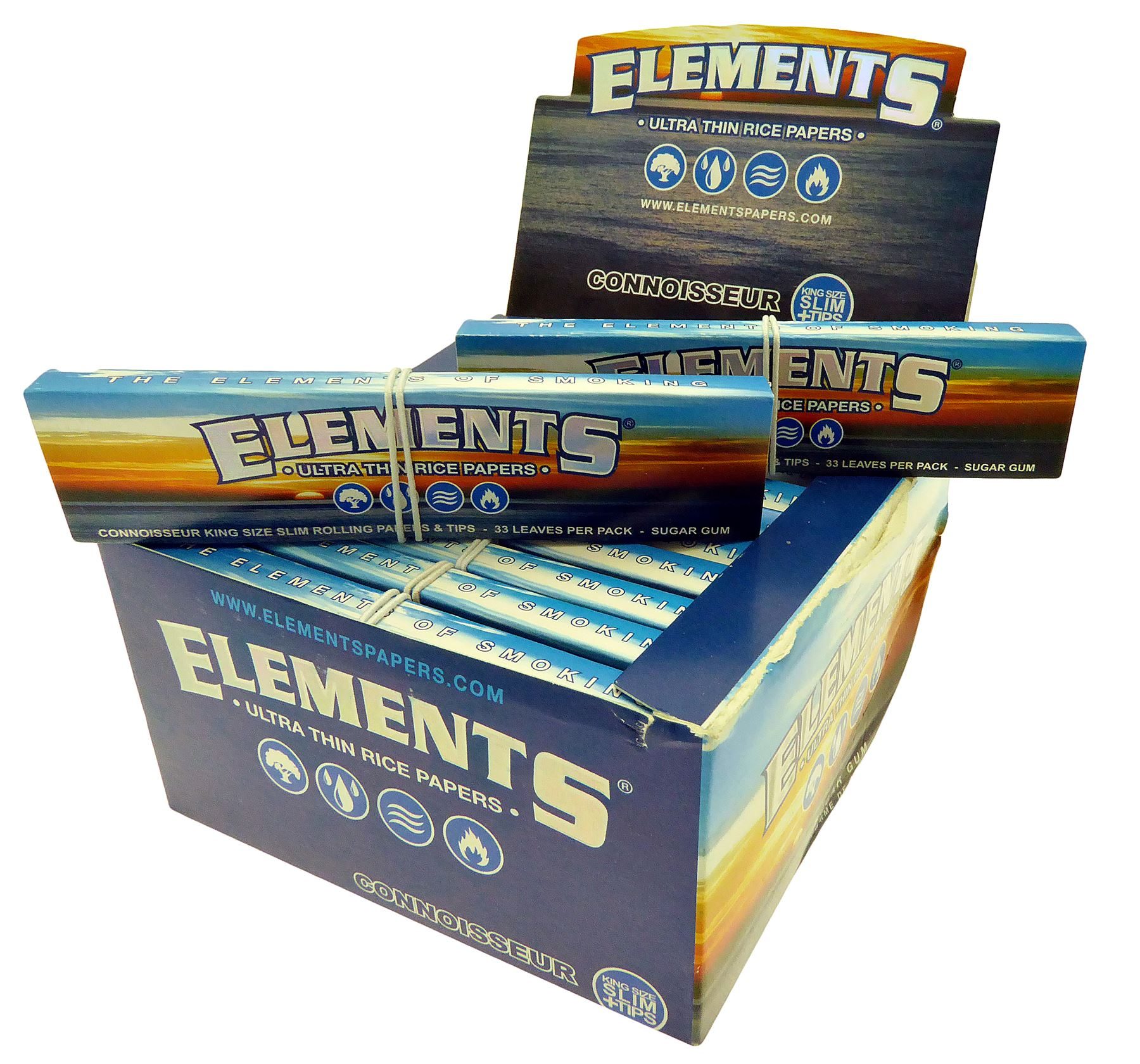 Elements Ultra Thin King Size Slim PaperS + Tips X 24