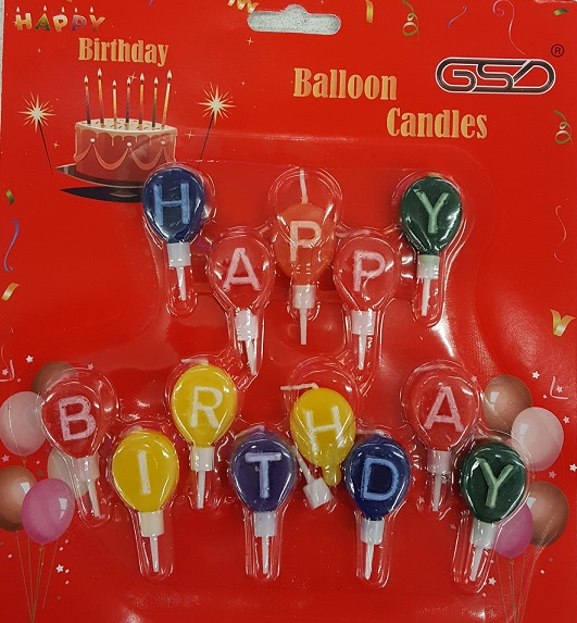 GSD BIRTHDAY BALLOON CANDLES 12 pk per box