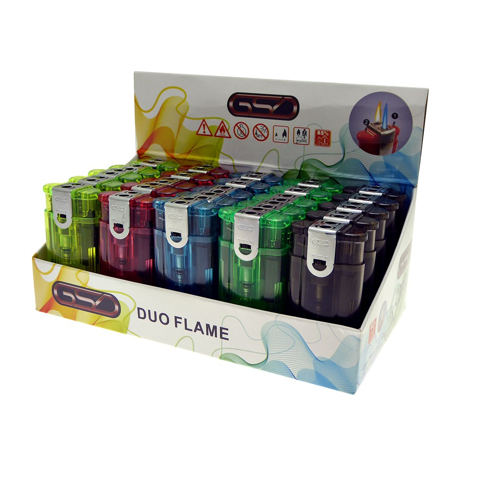 GSD DUO FLAME LIGHTER CLEAR BOX OF 25