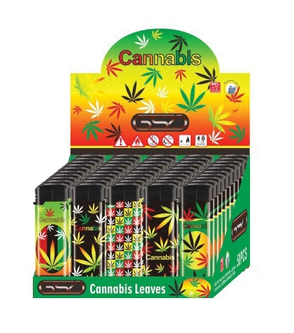 GSD Electronic Refillable Lighters Cannabis Leaf Print pk of 50