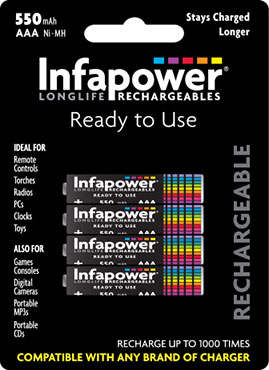 Infapower Rechargeable AAA / 550 mAH B4 (1)