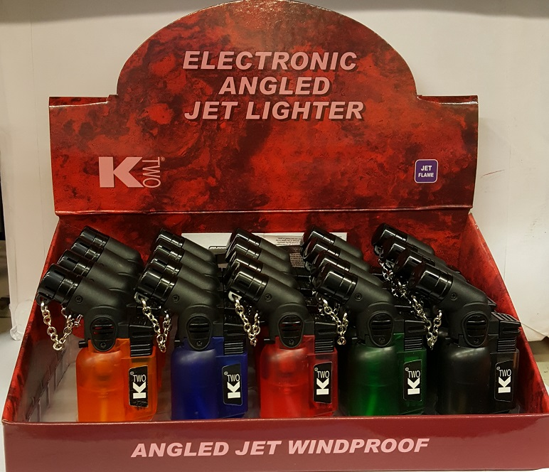 K TWO ANGLED ELECTRONICS JET FLAME LIGHTER X 20