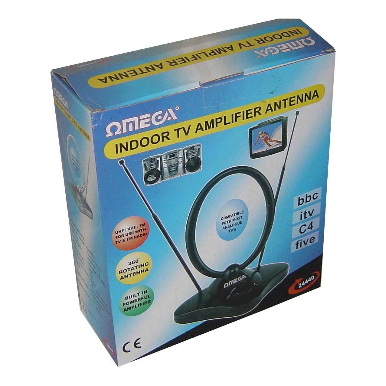 Indoor TV Amplifier antenna ideal for UHF/VHF/FM for use with TV