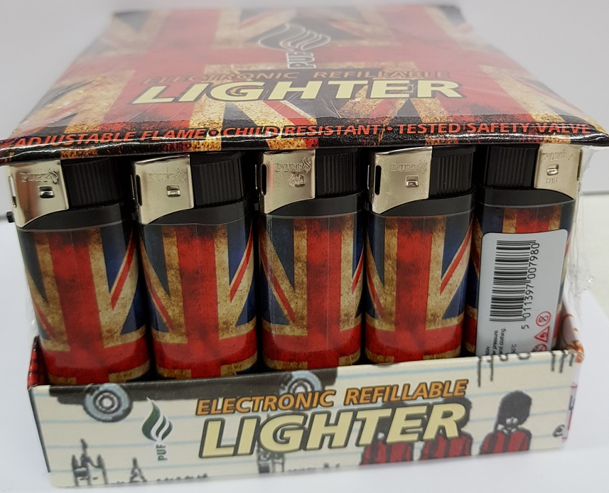 PUF Union Jack Print Electronic Refillable Lighter x 50